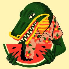 By Luke Pelletier; Alligator eating watermelon