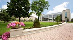 View of the Information Commons on the scenic campus of Loyola University Chicago in Chicago, Illinois