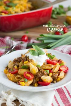 A Le Creuset Cookware GIVEAWAY! Plus a taco enchilada casserole.