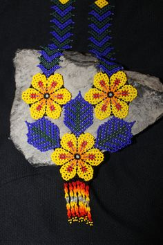 Huichol Peyote Beaded Necklace 2 by HuicholArte on Etsy, $55.00