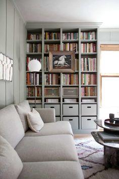 New home library diy bookshelves ikea hacks 51 Ideas Ikea Billy Bookcase Hack, Bookshelves Built In, Billy Bookcases, Ikea Hemnes Bookcase, Bookshelf Ideas, Ikea Shelves, Room Shelves, Home Library Diy, Home Office Decor