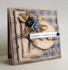 card flower flowers rolled leaf leaves maja design paper Dorota_mk: Narozeniny dva :)