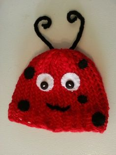 Loom Knit Lady Bug Hat Pattern