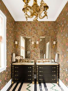 Wallpaper, Chandelier, colors, cabinetry, everything!