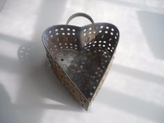 Antique Punched Tin HEART Cheese Mold.  Tinware HEART Cheese Mold.   aafa #Americana