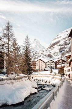 Zermatt is a charming mountain resort town in Switzerland, most widely known for it's skiing, climbing and hiking as well as for it's iconic views of the famous Matterhorn. Zermatt, Oh The Places You'll Go, Places To Travel, Places To Visit, Dream Vacations, Vacation Spots, Visit Switzerland, Winter Scenery, Travel Aesthetic