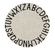 Lorena Canals Round ABC Natural Black Rug - Natural base with Blackcolor Abc design, round shape. If you find a long or loose thread, cut it wit