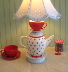 Red Cherries Teapot Lamp Teapot Tea Cup and by ThistleandJug