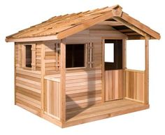 Cedar Shed Log Cabin Cedar Playhouse - Outdoor Playhouses at Hayneedle - no shipping panels arrive ready to be assembled. Kids Garden Playhouse, Wooden Playhouse Kits, Cedar Playhouse, Kids Playhouse Plans, Childrens Playhouse, Build A Playhouse, Playhouse Outdoor, Wooden Storage Sheds, Storage Shed Kits