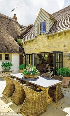 An airy extension gives the bijou proportions of this Cotwolds cottage a bright, light-filled contemporary feel. What better way to mix old and new? Outdoor Seating, Outdoor Rooms, Outdoor Living, Garden Cottage, Home And Garden, Cottage Extension, Outside Living, Dream House Exterior, Porches