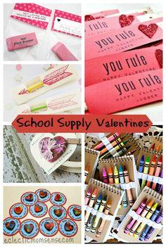 School Supply Valentines Ideas via @Kelly {Eclectic Momsense} - eclecticmomsense.com