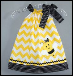Super Cute Chevron Bumble Bee Applique dress Yellow and Black and white polka dot on Etsy, $25.00