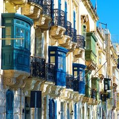 Blue Balconies, Valetta, Malta. Valletta is the capital of Malta, colloquially known as Il-Belt in Maltese. It is located in the central-eastern portion of the island of Malta.