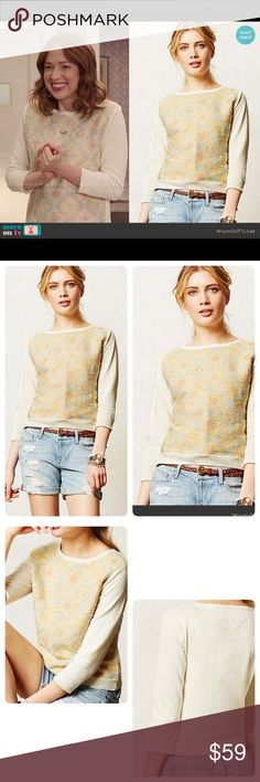 "Anthropologie Rare Desert Ikat Sweatshirt Super rare highly desirable Desert Ikat Sweatshirt ❤️by Madchen. It was worn on TV thrice ( I added 2 pics too :). This sweatshirt can go beyond the realm of workouts and lazy Sundays. 😘🎉😘Cotton, ikat pattern ( not bright/subtle). Length 19"". Pit to pit 17.5"" approx. Worn 2-3 times. Just a little natural signs of wear in arms. Price reflects that. Color cream mainly size small Anthropologie Tops"