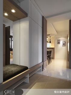 Storage - love the shoe cabinets at the bottom and the mirrored bench seat