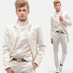 Men White Embroidered Vintage Victorian Style Wedding Dress Suit Jacket SKU-123466