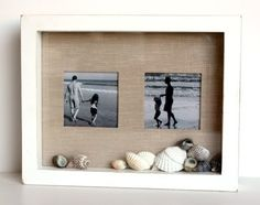 beach vacation photo shadow box frame. Brilliant idea as I have shells from Coral Beach in Galway, Ireland