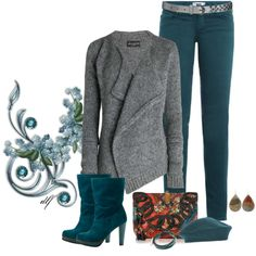 """Deep Winter Soft """"Teal in November"""" by tdfediuk on Polyvore MAN! I wish I was thin enough to wear this."""