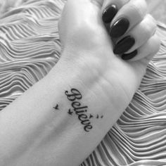 Temporary Tattoo Black Believe & Birds TT401 Wrist or Ankle Tattoos on Etsy, $4.28
