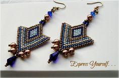 Bronze Brown Blue & Cream Chevron Pattern by FreedomDesignbyFreda, $35.00