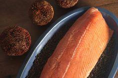 Filé de salmão assado lentamente