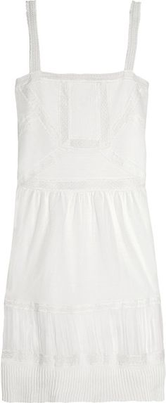 Lacetrimmed Cotton Dress - Lyst
