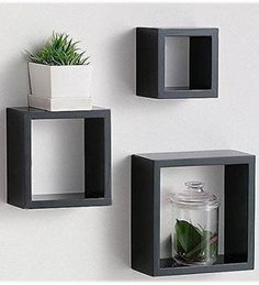 Modern Home 3 Pieces Black Square Cube Wall Shelf Set