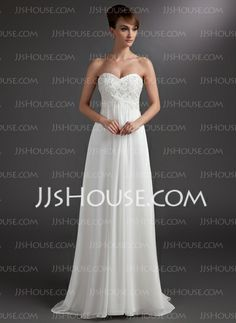 Bridesmaid Dresses - $124.49 - Empire Sweetheart Sweep Train Chiffon Bridesmaid Dress With Lace Beading (007016772) http://jjshouse.com/Empire-Sweetheart-Sweep-Train-Chiffon-Bridesmaid-Dress-With-Lace-Beading-007016772-g16772