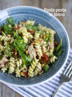 Pasta Pesto el Tonno – Food And Drink Tapas, Pesto Pasta, Pasta Recipes, Salad Recipes, Cooking Recipes, Diet Food To Lose Weight, Healthy Diners, Vegetarian Recipes, Healthy Recipes