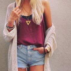 shorts. cardigan. tanktop. highwaisted shorts.