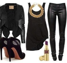 black leather and gold