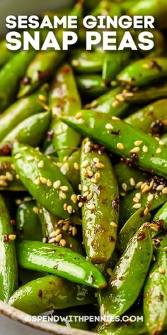 Snap Peas are sauteed in a garlic-ginger sauce, then tossed with toasted sesame seeds once they're tender! Serve with Sesame Chicken and Chow Mein for Chinese take out, made at home! #spendwithpennies #sesamegingersnappeas #recipe #sidedish #snappeas #stovetop Chow Mein, Chow Chow, Ginger Sauce, Toasted Sesame Seeds, Sesame Chicken, Snap Peas, Ginger Snaps, Side Dishes, Spend With Pennies