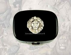 Oval Pill Box Lion Steampunk Safari Inlaid in Hand Painted Glossy Black Enamel  Leo Inspired Custom Colors and Personalized Options