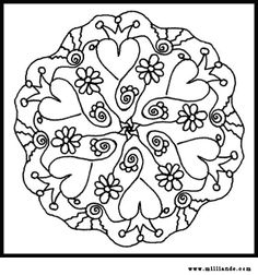 Image detail for -Printable Mandala Coloring Pages Hearts,Free Mandala Coloring Pages … Make your world more colorful with free printable coloring pages from italks. Our free coloring pages for adults and kids. Mandalas Painting, Mandalas Drawing, Mandala Coloring Pages, Coloring Book Pages, Coloring Sheets, Zentangles, Embroidery Hearts, Cross Stitch Embroidery, Embroidery Patterns