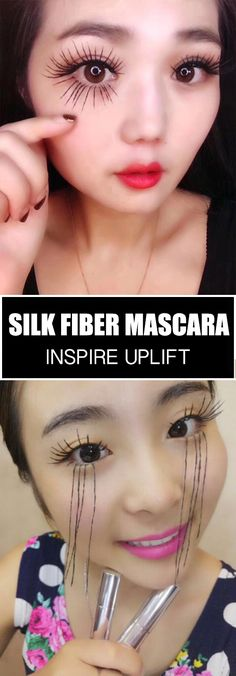 Silk Fiber Mascara - ★★★★★ Our Silk Fiber Mascara will increase the length, thickness and volume of your lashes at up to of their natural state. You'll get long, luscious lashes without having to apply false eyelashes or pay for costly l Makeup Tips, Beauty Makeup, Eye Makeup, Hair Makeup, Hair Beauty, Makeup Trends, Makeup Ideas, Applying False Eyelashes, How To Apply Mascara