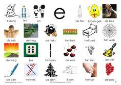 Afkijkplaat E Learn Dutch, Dutch Language, Letter E, Kids Writing, Learning Spanish, Phonics, Spelling, Preschool, Teaching