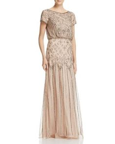 Adrianna Papell Gown - Square Neck Cap Sleeve Beaded Open Back Godet | Bloomingdales's