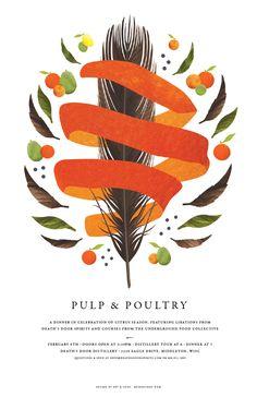 Pulp & Poultry by Justin Blumer, via Behance design illustration