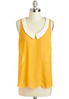 Bead and Breakfast Top - Mid-length, Yellow, White, Solid, Peter Pan Collar, Daytime Party, Sleeveless, Collared, Beads
