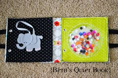 {Beth's ADORABLE Felt Book for Baby} Cute elephant - attaches with velcro and held by ribbon