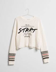 BSK text sleeve detail jumper - Sweatshirts - Bershka United Kingdom