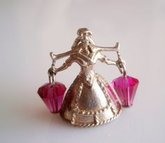 Silver Nuvo Milk Maid with Crystal Milk Pails by TrueVintageCharms
