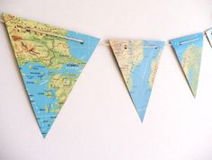 MAP vintage paper bunting atlas maps bunting wedding decoration party decoration map decoration travel theme. $23.95, via Etsy.