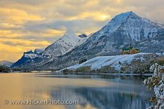 Scenic Winter Destination Waterton Lakes: A popular year rounded travel destination, regardless of whether its summer or winter sunny or snowy.