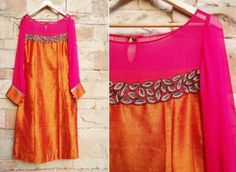 magenta orange raw silk kurta