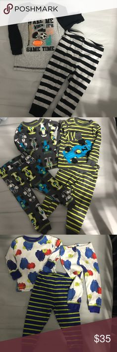 Baby Boy Pajama/Loungewear Bundle 6 snap crotch onesies, 2 pants (0-3 month in red and 6 months in grey), and 4 sets of pajamas. No staining or damage. All except noted are 9 months. Carter's Pajamas Pajama Sets