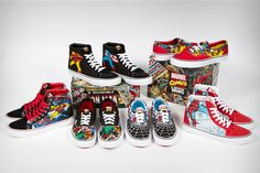 Vans and Marvel join forces with the almighty Avengers to release this cracking crime-fighting heroes collection. The Sk8-Hi Reissue highlights Iron Man, Captain America, the Hulk and Thor on each side panel while the Era …VANS X MARVEL AVENGERS COLLECTION  Written by: Sneaker Freaker February 18, 2013