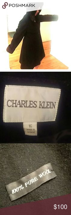 Charles Klein 100% PURE WOOL coat Warm and cozy Charles Klein 100% PURE WOOL black coat. Faux fur hood trim. Juniors Size 16. One button is detached (included) Jackets & Coats