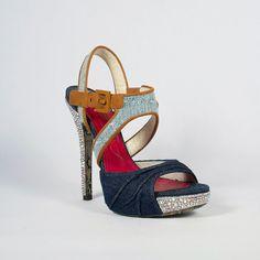 c0ae35b2a9657 Cesare Paciotti Crystal Shoes Denim  amp  Suede Platform Sandals Denim Heels