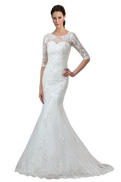 265f9a8ff0 Sisjuly Women s Half Sleeve Lace Mermaid Wedding Dress for Bride US12 White  Country Style Wedding Dresses